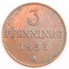 1855 A Mecklenburg Schwerin 3 Pfenninge Friedrich Franz II coin