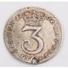 1762 Great Britain 3 Pence silver coin VF details small hole