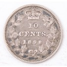 1898 Canada 10 cents coin obverse-6  nice VF