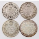 4x 1935 Canada 10 cents 4-coins VF to FINE condition