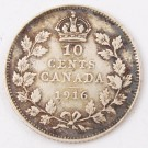 1916 Canada 10 cents VF30