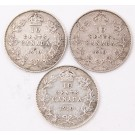 3x 1910 Canada 10 cents 3-coins FINE or better