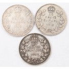 1912 1913 & 1914 Canada 10 cents 3-coins all a/VF