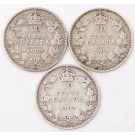 3x 1903H Canada 10 cents all 3-coins in nice VG condition