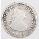 1816 Chile 1 Real silver coin Santiago-FJ KM-64 circulated