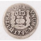1746 Mexico 1/2 Real silver coin M KM-66 circulated