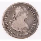 1816 Chile 1 Real silver coin Santiago-FJ KM-65 circulated edge bumps