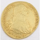1803 Colombia 8 Escudos Gold Coin P JF KM#62.2 complete edge milling AU