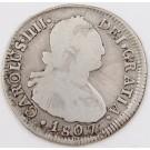 1807 Chile 2 Reales silver coin FJ Santiago KM#59 circulated