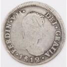 1812 Chile 2 Reales silver coin FJ Santiago KM#79 circulated