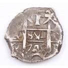 1748 Bolivia 1 Real silver cob Q Potosi KM#37 3.19 grams a/EF