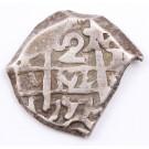 1757 Bolvia 2 Reales silver cob Potosi KM#38 7.01 grams VF+