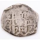 1732 Bolvia 2 Reales silver cob M Potosi KM#29a 5.68 grams