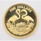 Bahamas 1992 $5 gold coin Flamingos low mintage=750 Gem Cameo Proof