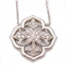 Gabriel & Co Sterling Silver Floral Design Pendant with White Sapphires