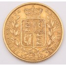 1869 Great Britain gold Sovereign Die#22 double date and Victoria in legend EF