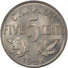 1928 Canada 5 cents PCGS AU58