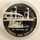 1991 Canada The Steamer Frontenac Proof Silver Dollar