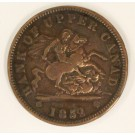 1852 Upper Canada One Penny Heaton Mint Narrow 2
