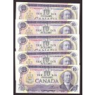 5x Canada 1971 $10 banknotes 5-different prefixes 5-nice notes
