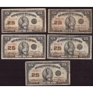 5x Canada 25 cent banknotes 1923 Shinplasters