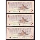 3x 1986 Canada $2 replacement banknotes BRX3395227-28+29 GEM UNC EPQ