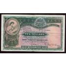 1955 Hong Kong Shanghai Bank HSBC $10 banknote VF30