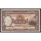 1941 Hong Kong HSBC $5 Dollars banknote M161384 P173d F15