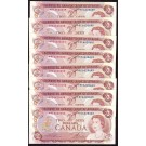 8x 1974 Canada $2 dollar banknotes replacement *RE6620639-46