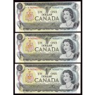 3x 1973 Canada $1 dollar replacement notes  UNC63 EPQ