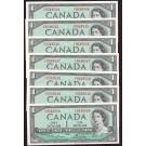 7x 1954 Canada $1 consecutive banknotes CH UNC63 EPQ