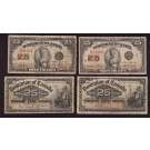 4x Different Canada 25 cent banknotes shinplasters