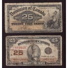 2x Canada 25 cent banknotes 1900 & 1923 Shinplasters