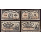 4x Different Canada 25 cent banknotes shinplasters VG/F