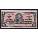 1937 Bank of Canada $2 banknote Gordon Towers E/B1477193 AU55 EPQ