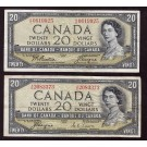 2x 1954 Canada $20 notes Coyne Towers devils face & Beattie Coyne modified