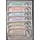 1954 Canada banknote set 7-notes $1 $2 $5 $10 $20 $50 & $100 all nice EF+