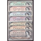 1954 Canada banknote set 7-notes $1 $2 $5 $10 $20 $50 & $100 all a/EF