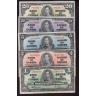 1937 Canada 5-banknote set Gordon & Coyne Towers $1 $2 $5 $10 & $20 all nice