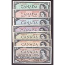 1954 Canada banknote set 7-notes $1 $2 $5 $10 $20 $50 & $100 all VF or better